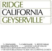 RIDGE VINEYARDS GEYSERVILLE ZINFANDEL 2014
